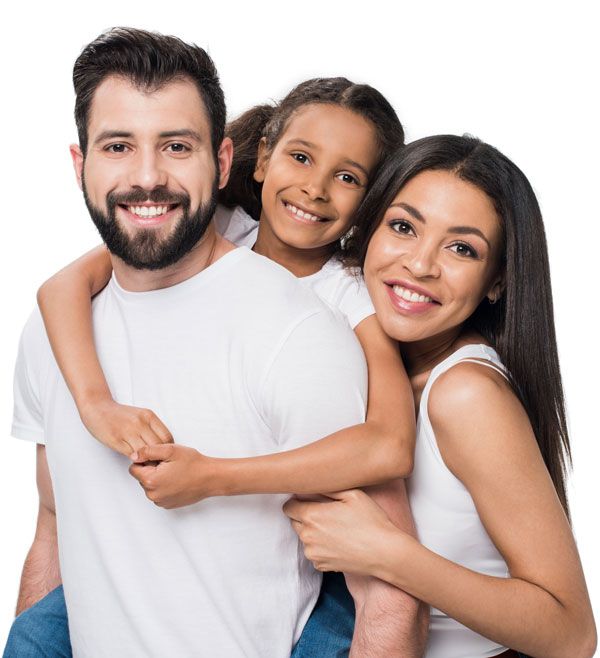 Happy family of three after visiting our family friendly doctors